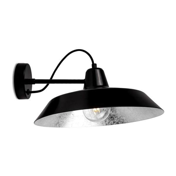 Černé nástěnné svítidlo s detailem ve stříbrné barvě Bulb Attack Cinco Basic
