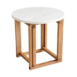 Măsuță de cafea RGE Accent, blat din marmură albă și structură din lemn de stejar, ⌀ 50 cm