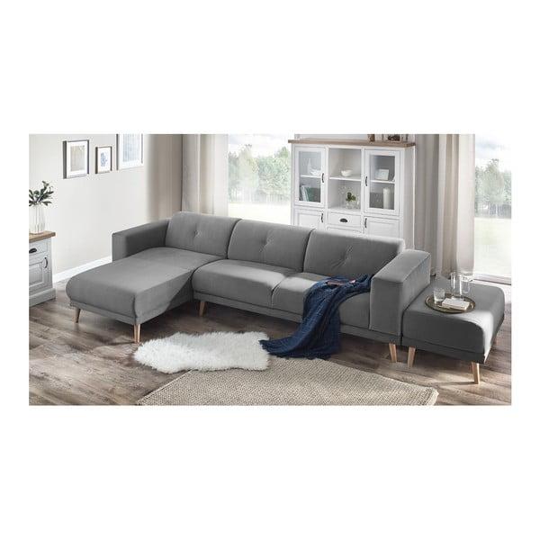 Canapea cu șezlong pe partea stângă și suport pentru picioare Bobochic Paris Luna, gri