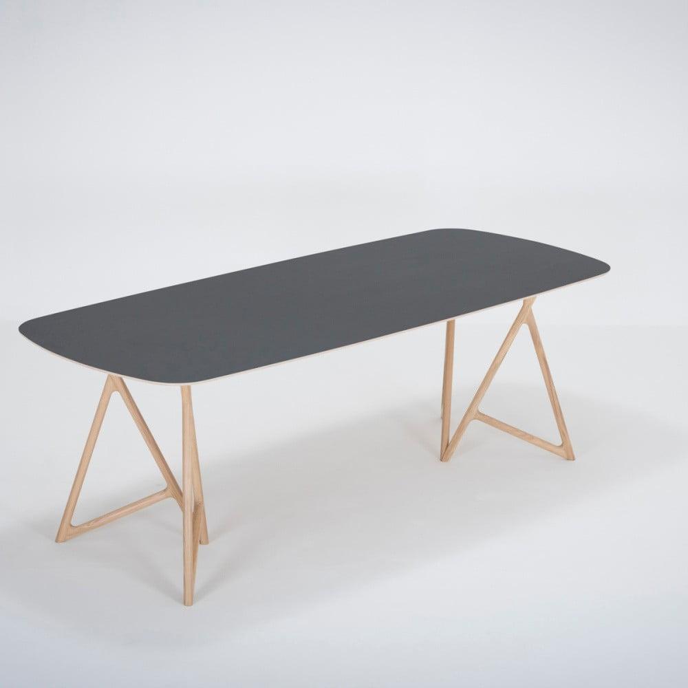Jídelní stůl z masivního dubového dřeva s černou deskou Gazzda Koza, 220x90cm