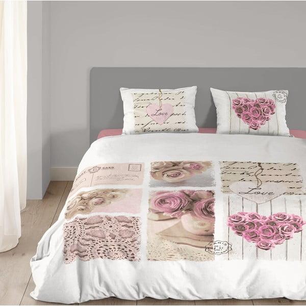 Bílé bavlněné povlečení Muller Textiel Romantic, 135 x 200 cm