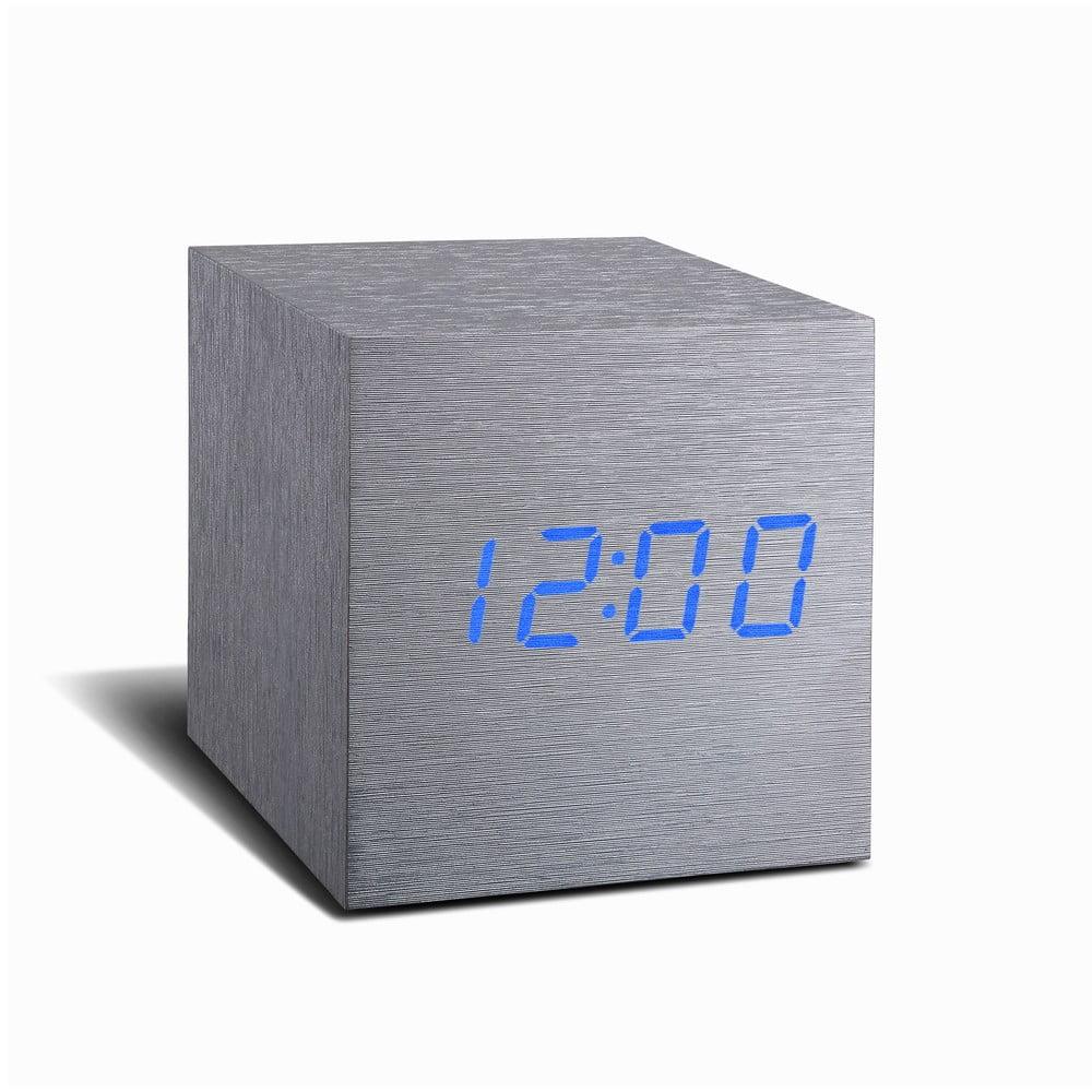 Šedý budík s modrým LED displejem Gingko Cube Click Clock