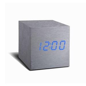 Ceas deșteptător cu LED Gingko Cube Click Clock, gri - albastru