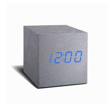 Ceas deșteptător cu LED Gingko Cube Click Clock, gri - albastru imagine