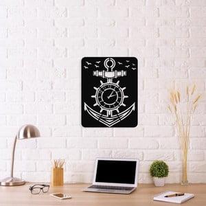 Černé nástěnné hodiny Anchor Clock V1, 40 x 50 cm