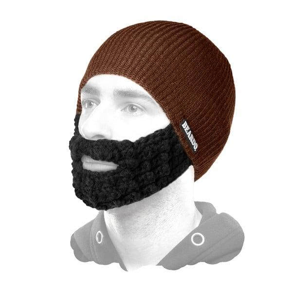 Hnědá čepice Beardo s černým plnovousem