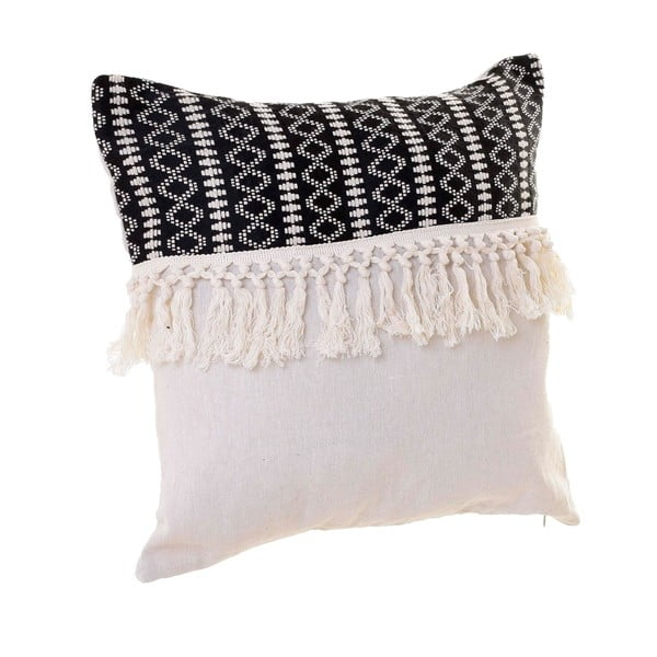 Czarno-biała poduszka InArt Fringy, 45x45 cm