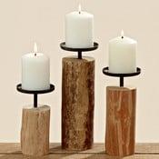 Sada 3 svícnů z eukalyptového dřeva Boltze Tempe