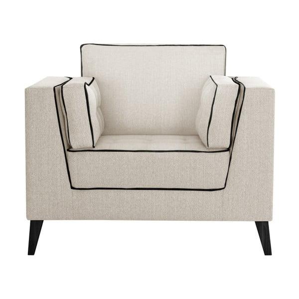 Jasnokremowy fotel z detalami w czarnej barwie Stella Cadente Maison Atalaia Cream