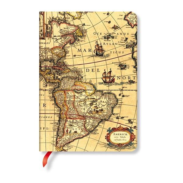 Linkovaný zápisník s tvrdou vazbou Paperblanks Western Hemisphere, 12 x 17 cm