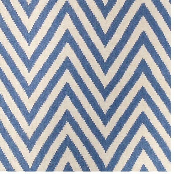Vlněný koberec Zig Zag Light Blue, 90x60 cm