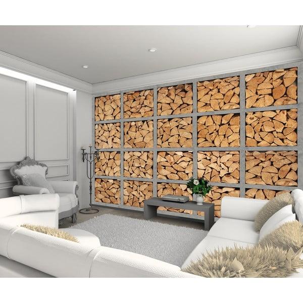 Velkoformátová tapeta Dřevěná polena, 315x232 cm