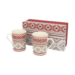 Set hrnků Red Ornaments, 2 ks