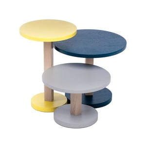 Sada 3 stolků z dubového dřeva Another Brand Tavollini Yellow