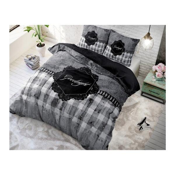 Tmavě šedé povlečení z mikroperkálu na jednolůžko Sleeptime Goodnight,140x220cm