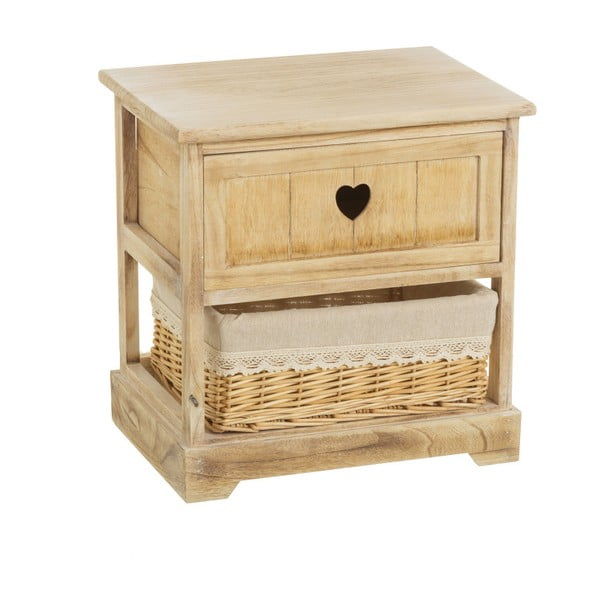 Szafka nocna z drewna paulownia z szufladą i koszykiem Unimasa Hannah