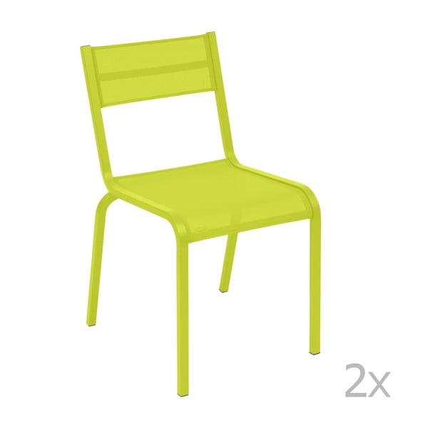 Komplet 2 jasnozielonych metalowych krzeseł ogrodowych Fermob Oléron