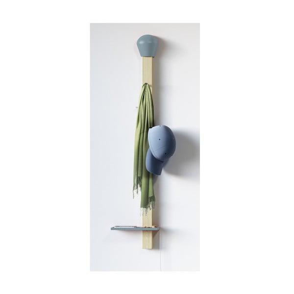 Věšák s odkládací poličkou Match, světle modrý