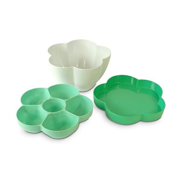 3dílná mísa na salát Flor, zelená