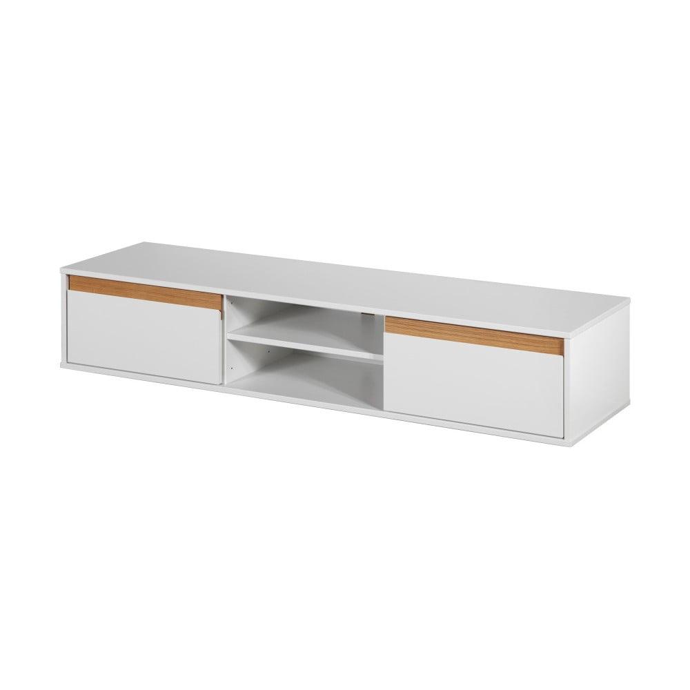 Bílá nástěnná TV komoda s dřevěnými detaily Dřevotvar Ontur 01