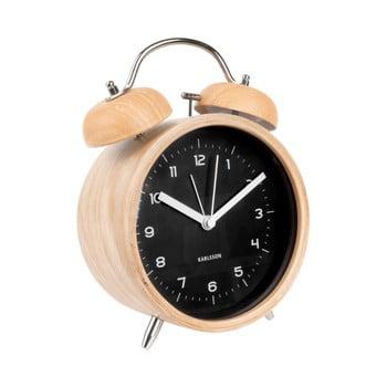 Ceas alarmă Karlsson Classic, decor lemn, ⌀ 14 cm, negru