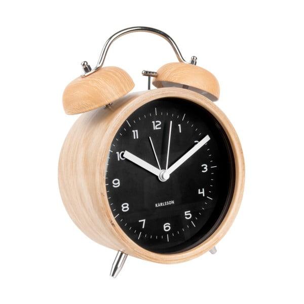 Czarny budzik w kolorze drewna Karlsson Classic Bell, ⌀ 14 cm