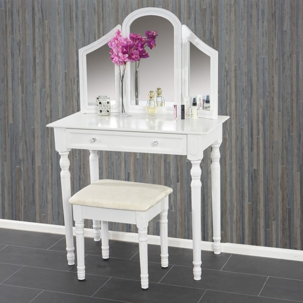 Toaletní stolek s taburetkou Jette White