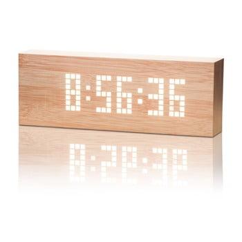 Ceas deșteptător cu LED Gingko Message Click Clock, maro - alb