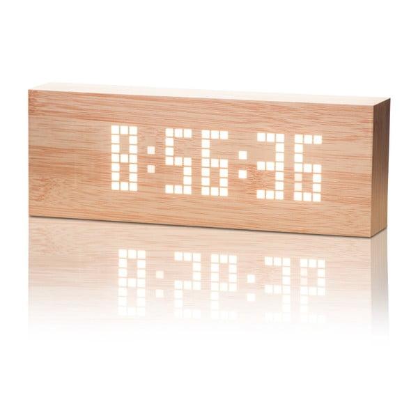 Světle hnědý budík s bílým LED displejem Gingko Message Click Clock