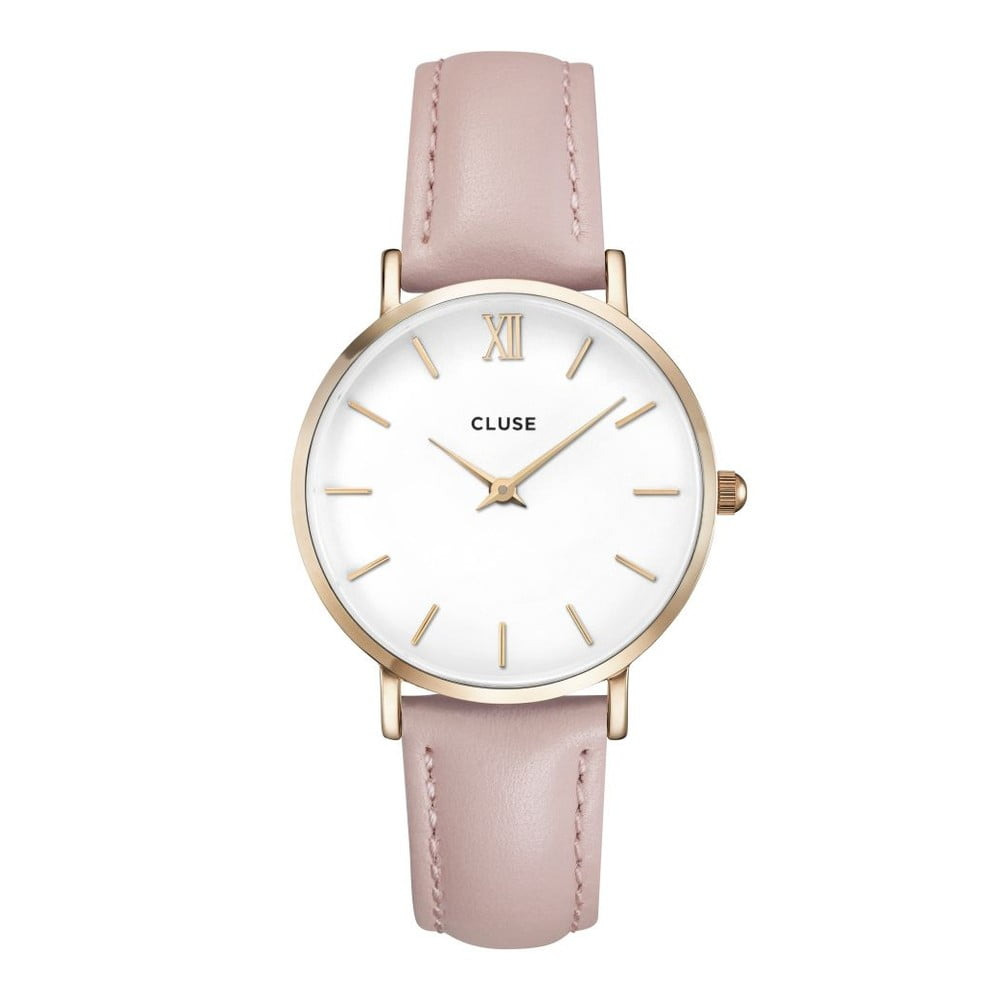 Dámské hodinky s růžovým koženým řemínkem Cluse La Minuit  247a027da9