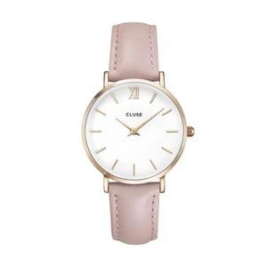 Dámské hodinky s růžovým koženým řemínkem a detaily ve zlaté barvě Cluse La Minuit