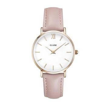 Ceas damă, curea din piele Cluse La Minuit, roz