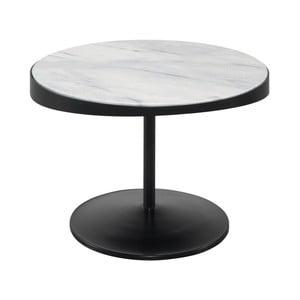 Odkládací stolek s mramorovou deskou Wewood - Portuguese Joinery Drop, Ø60cm