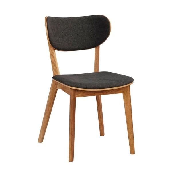 Hnedá dubová jedálenská stolička s tmavosivým sedadlom Rowico Cato