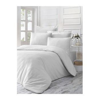 Lenjerie de pat din bumbac satinat Line, 140 x 200 cm, alb de la Victoria