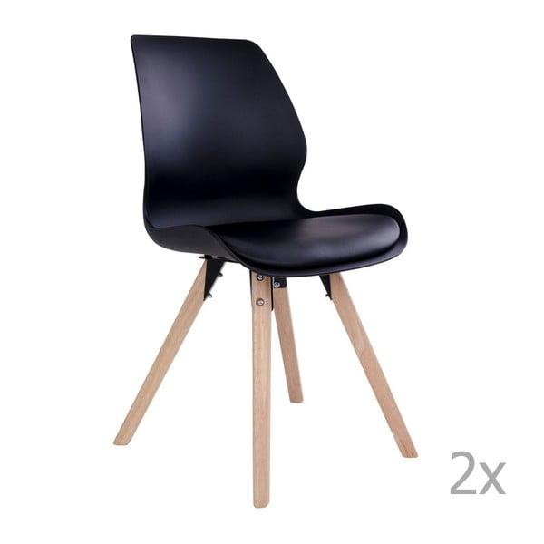 Sada 2 čiernych stoličiek House Nordic Rana