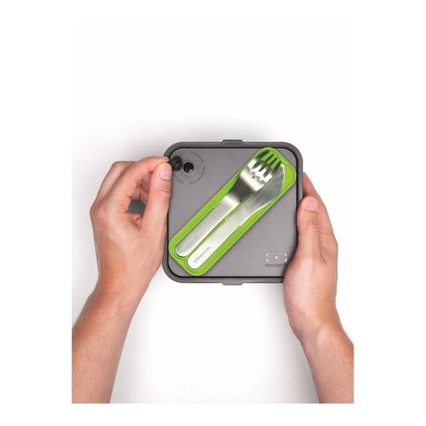 Set tacâmuri de buzunar pentru cutie gustare Monbento, husă verde