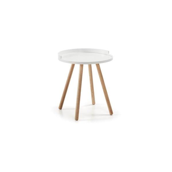 Bílý odkládací stolek s dřevěným podnožím La Forma Bruk