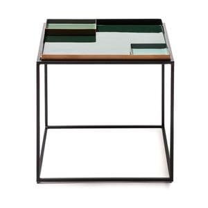 Tmavě zelený odkládací stolek s 2 tácy 360 Living Caira