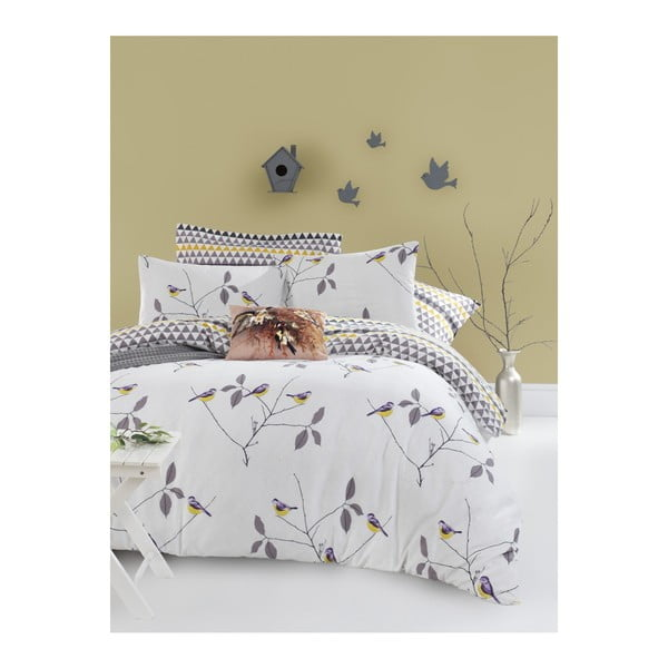Lenjerie de pat din bumbac ranforce pentru pat de 1 persoană Mijolnir Pavlina White, 140 x 200 cm