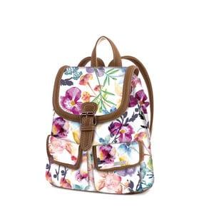 Bílý batoh s barevnými květy SKPA-T
