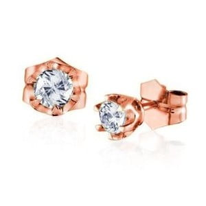 Náušnice Six Prong s diamantem, růžové zlato