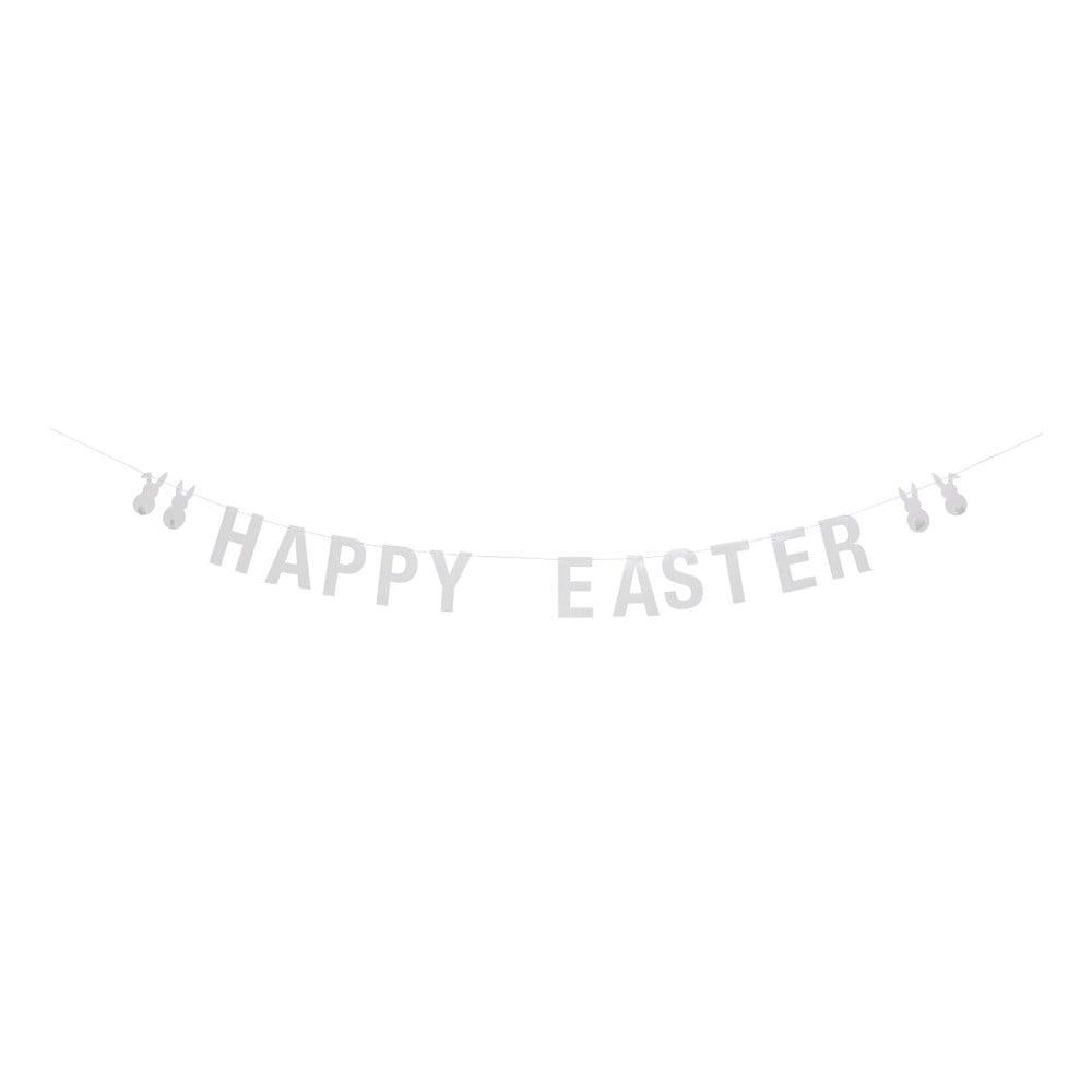 Bílá papírová girlanda Bloomingville Happy Easter, délka 200 cm
