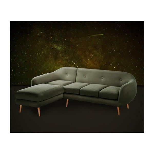 Canapea cu șezlong pe partea stângă Scandi by Stella Cadente Maison, verde olive