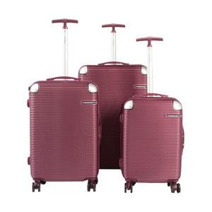 Sada 3 tmavě červených cestovních kufrů na kolečkách Travel World