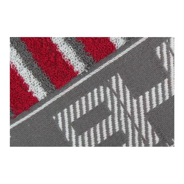 Šedo-červený ručník Beverly Hills Polo Club Lawson, 50x100cm