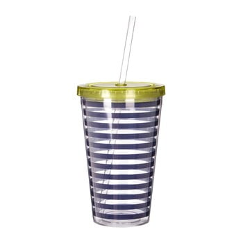 Pahar cu pai și capac Premier Housewares Mimo Stripes, 450 ml, alb - albastru imagine