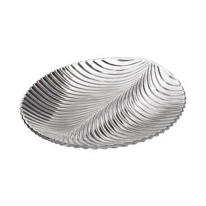 Skleněný talíř ve tvaru listu Unimasa, 24,8 x 22,8 cm