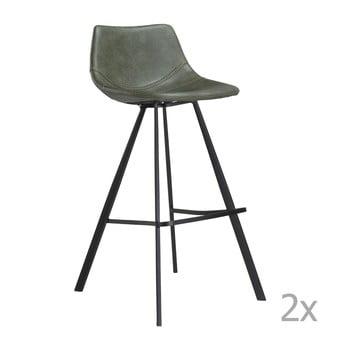 Set 2 scaune bar cu structură metalică neagră DAN-FORM Pitch, verde