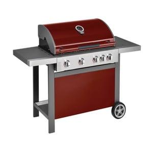 Červený plynový gril se 4 samostatně ovladatelnými hořáky, teploměrem a bočním ohřívačem Jamie Oliver BBQ